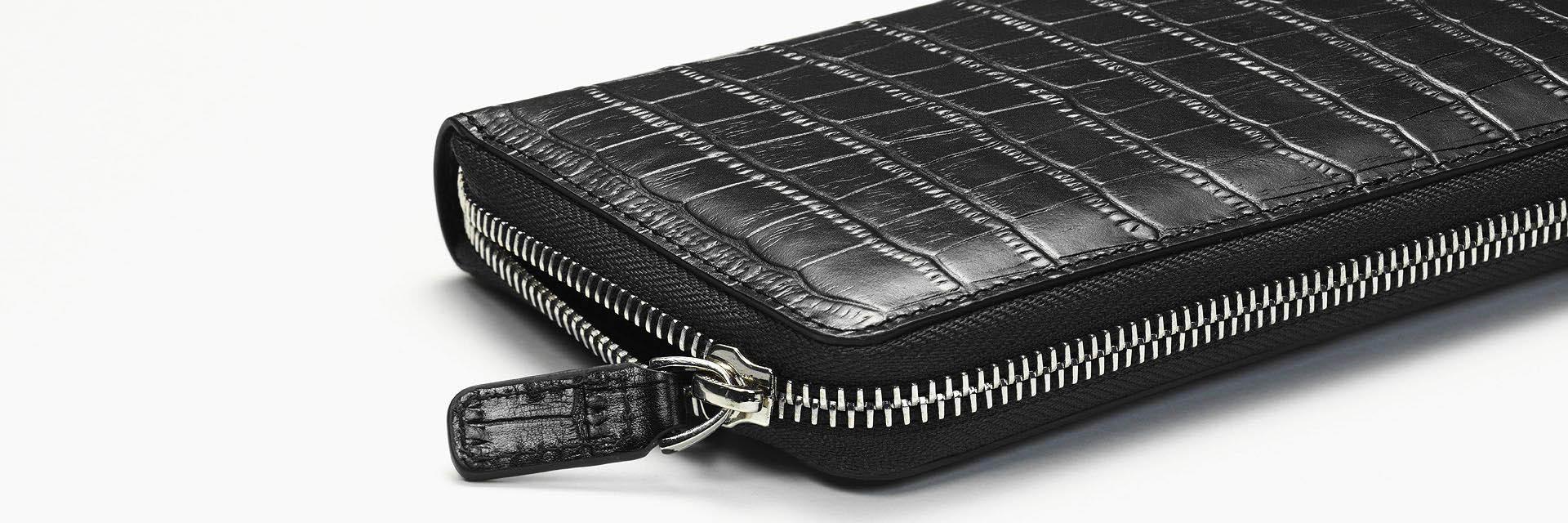 Alligator wallet close up