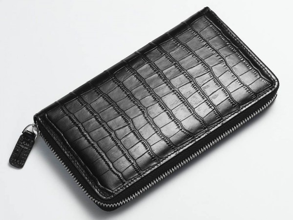 Alligator zip wallet black