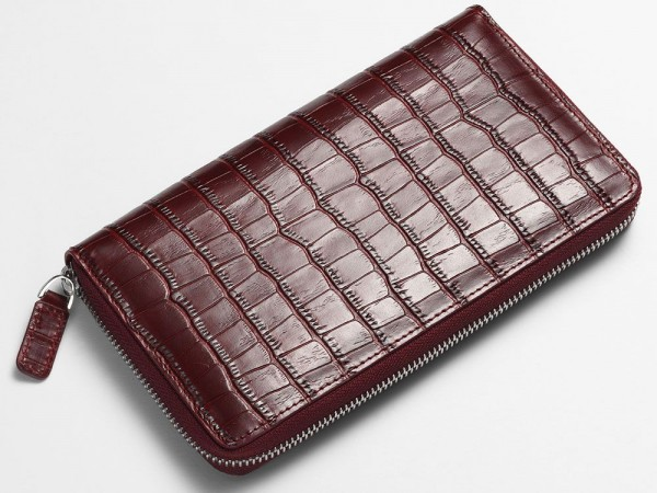 Alligator zip wallet red