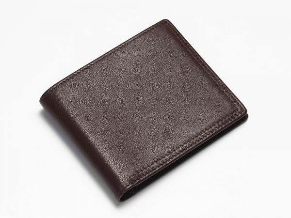 Brown bi-fold wallet closed