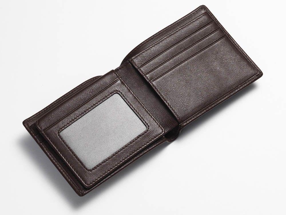 Brown bi-fold wallet open