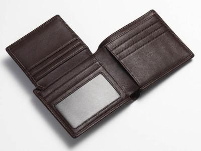 Brown Tri-Fold Wallet Open